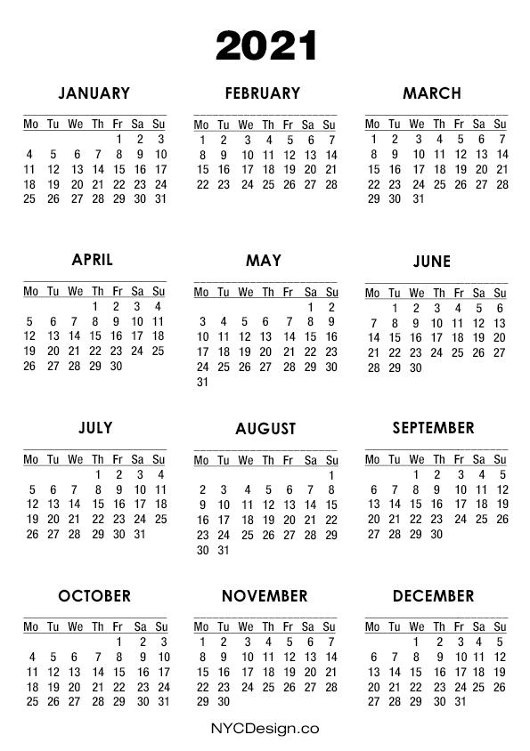 A4 Calendar 2021 | 2021 Calendar