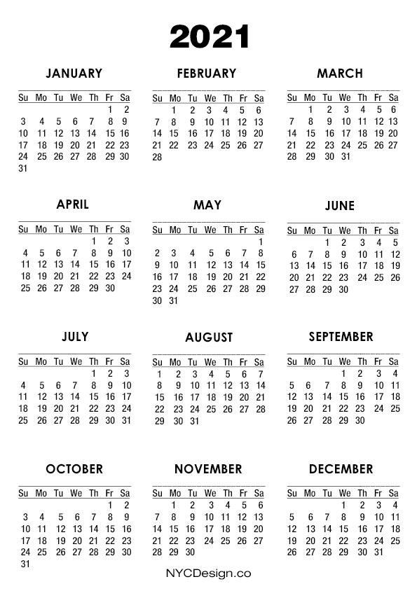 2021 Calendar Printable - A4 Paper Size, White - Sunday ...