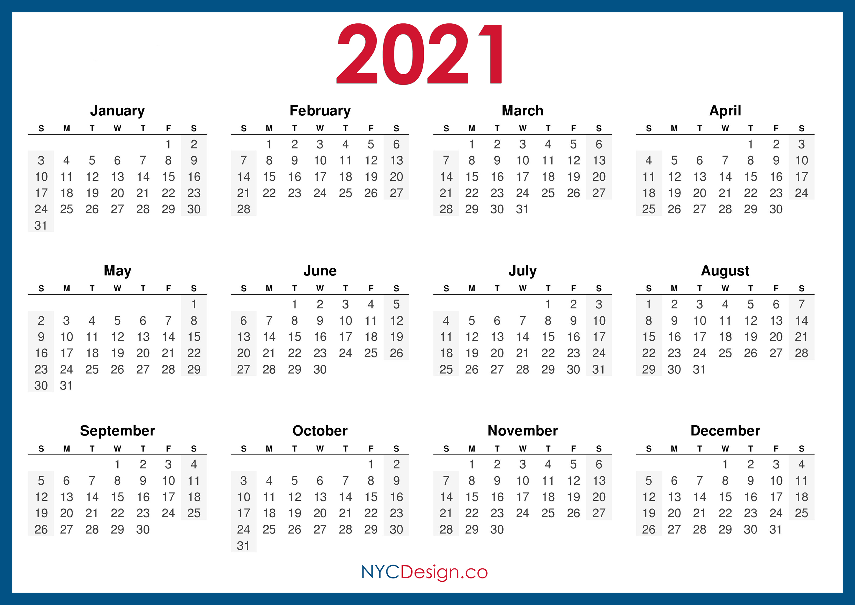 2021 Calendar Printable Free, Horizontal, Blue, HD ...