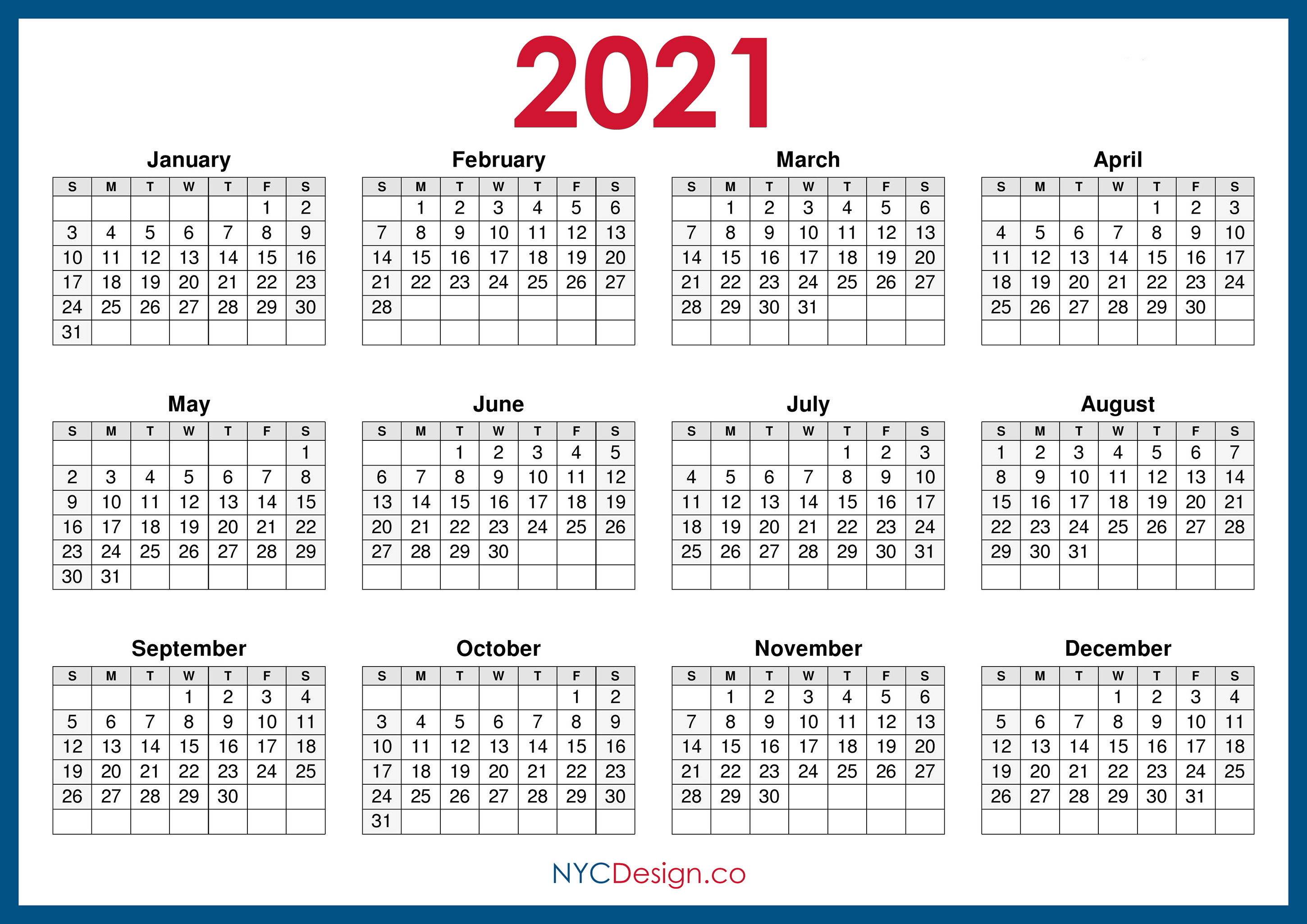 2021 Calendar Printable Free, Horizontal, Blue, HD ...