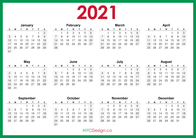 2021 Calendar Printable Free, Horizontal, Green, HD ...