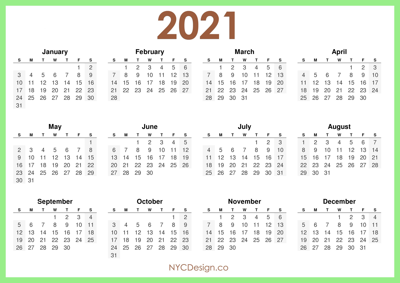 2021 Calendar Printable Free, Horizontal, Light Green, HD ...