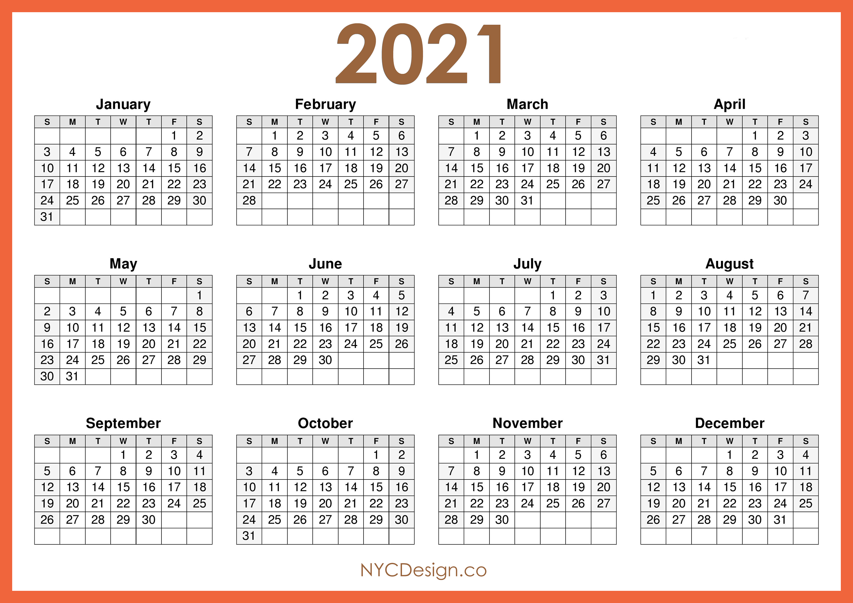 2021 Calendar Printable Free, Horizontal, Orange, HD ...