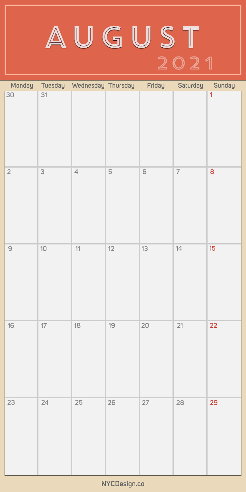 2021 August - Monthly Calendar with Holidays, Printable ...