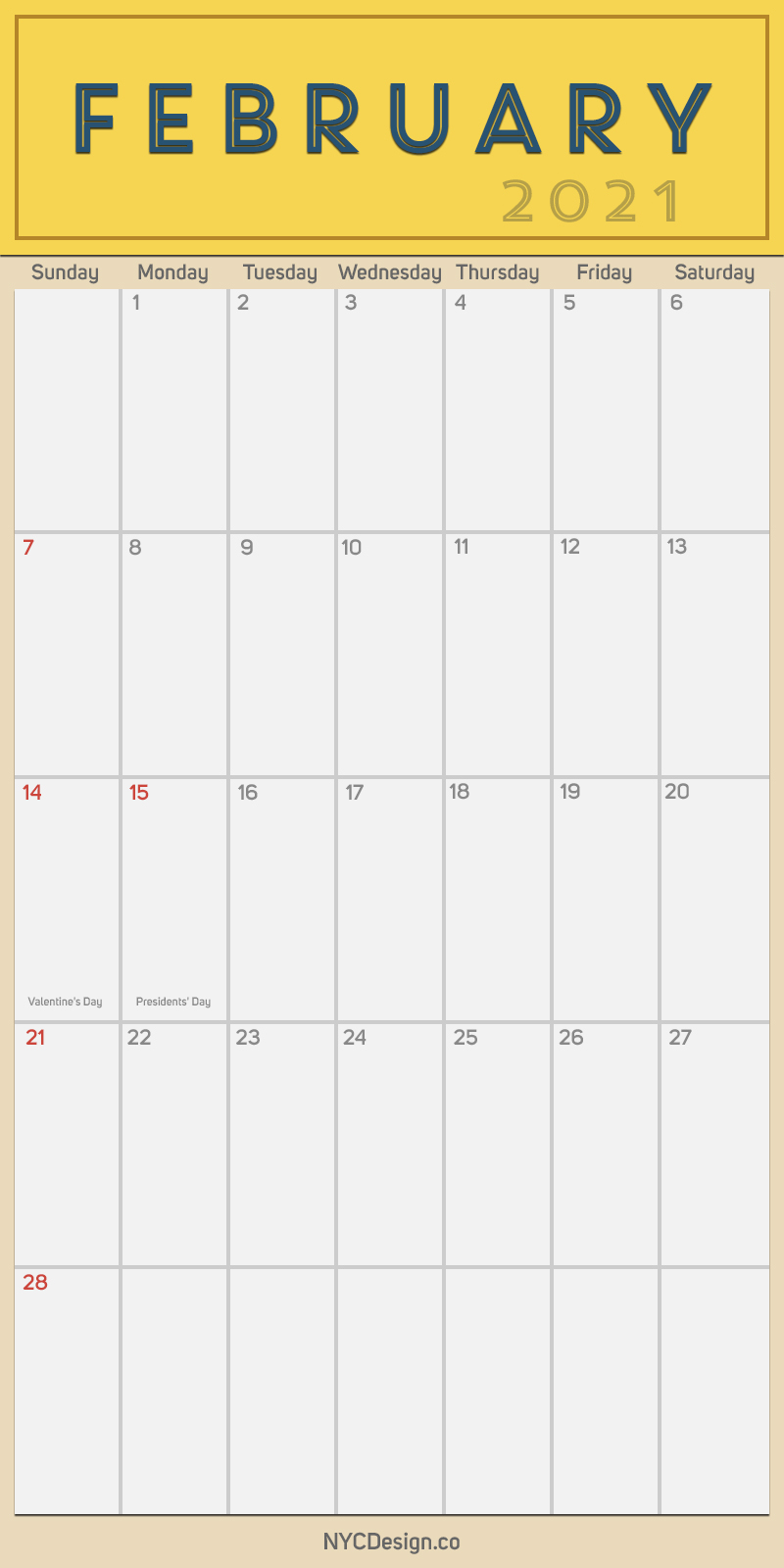 2021 February - Monthly Calendar with Holidays, Printable ...