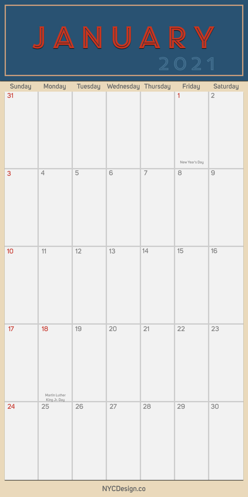 2021 January - Monthly Calendar with Holidays, Printable ...