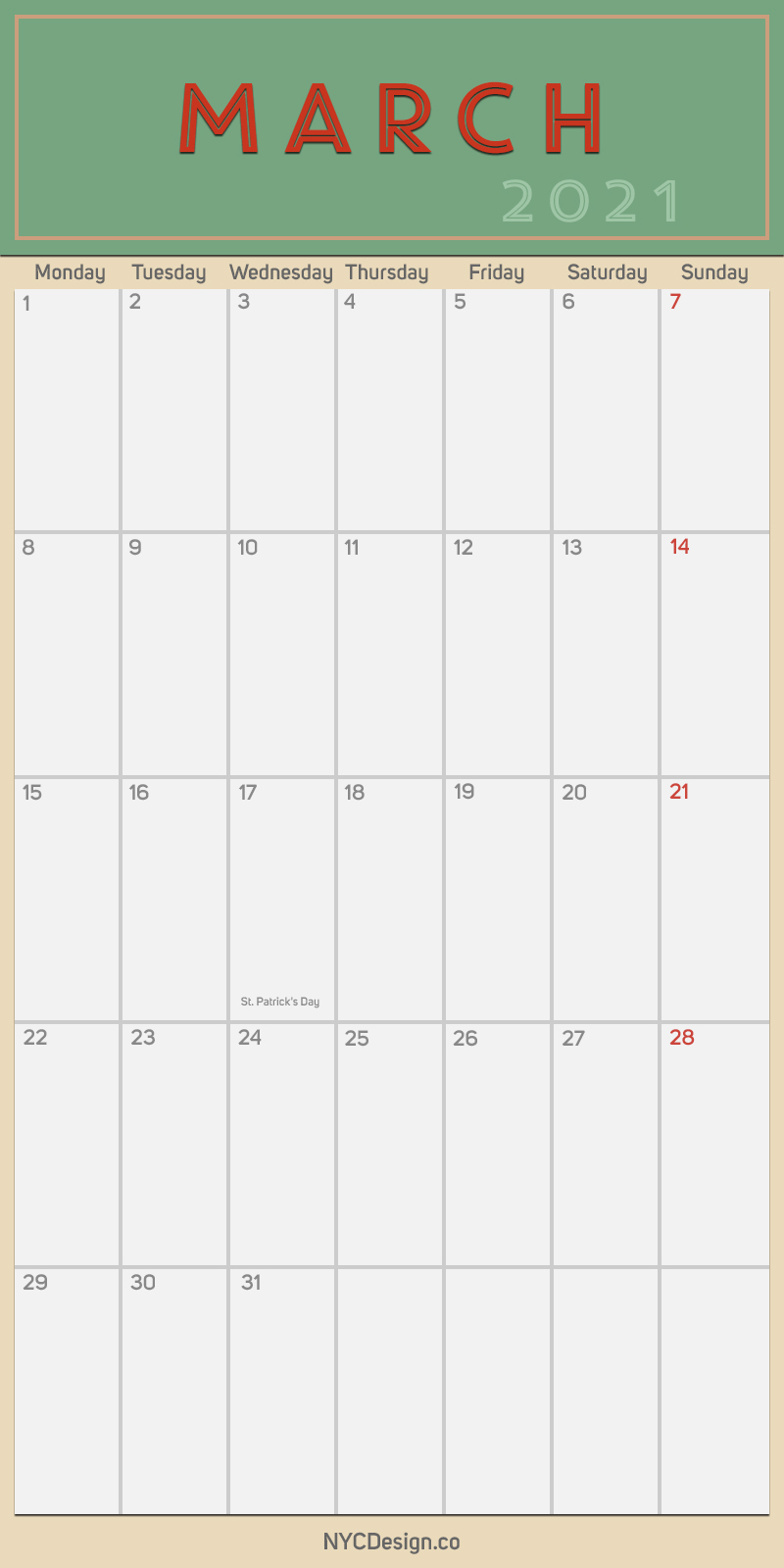 2021 March - Monthly Calendar with Holidays, Printable ...
