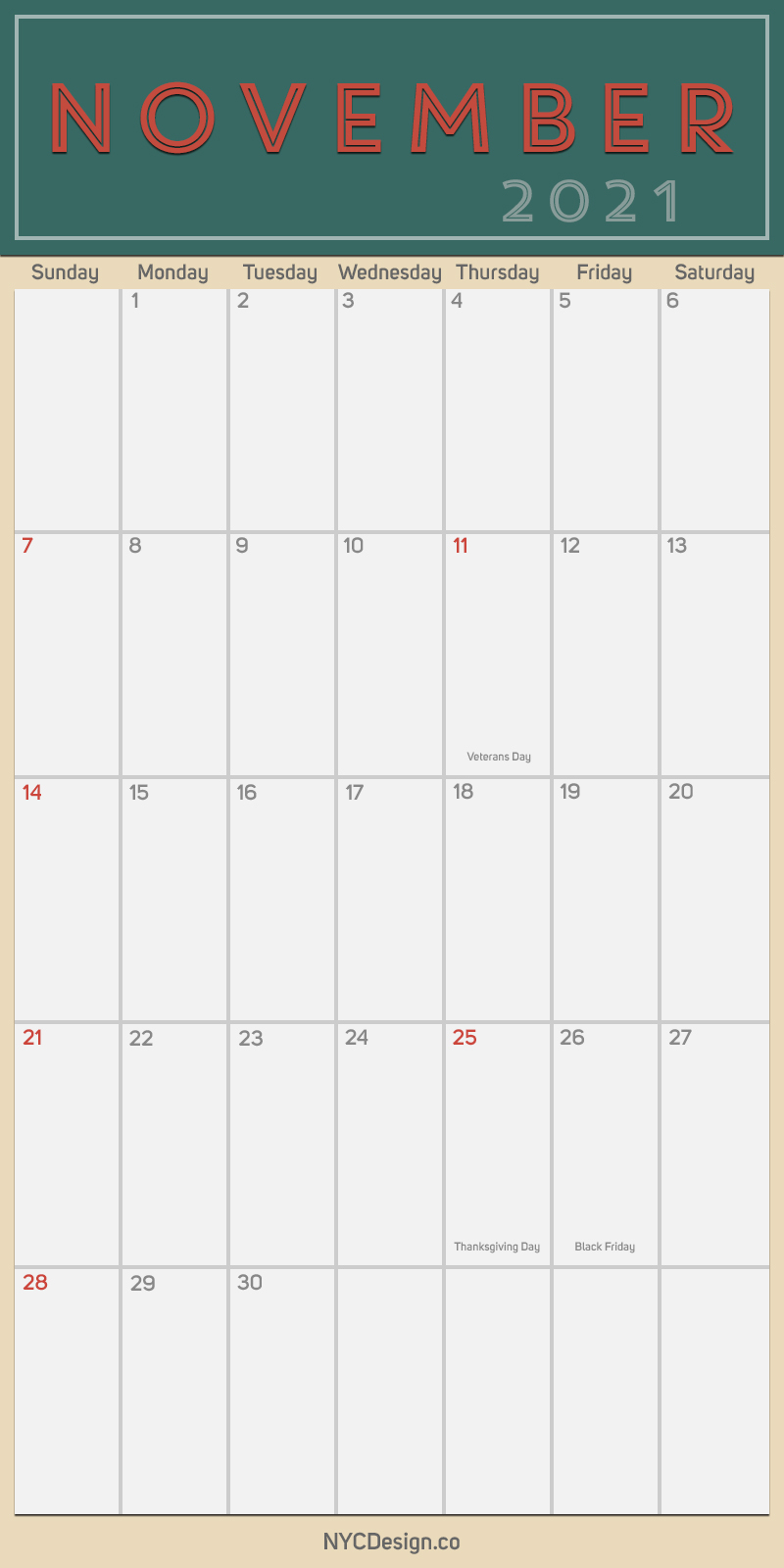 2021 November - Monthly Calendar with Holidays, Printable ...