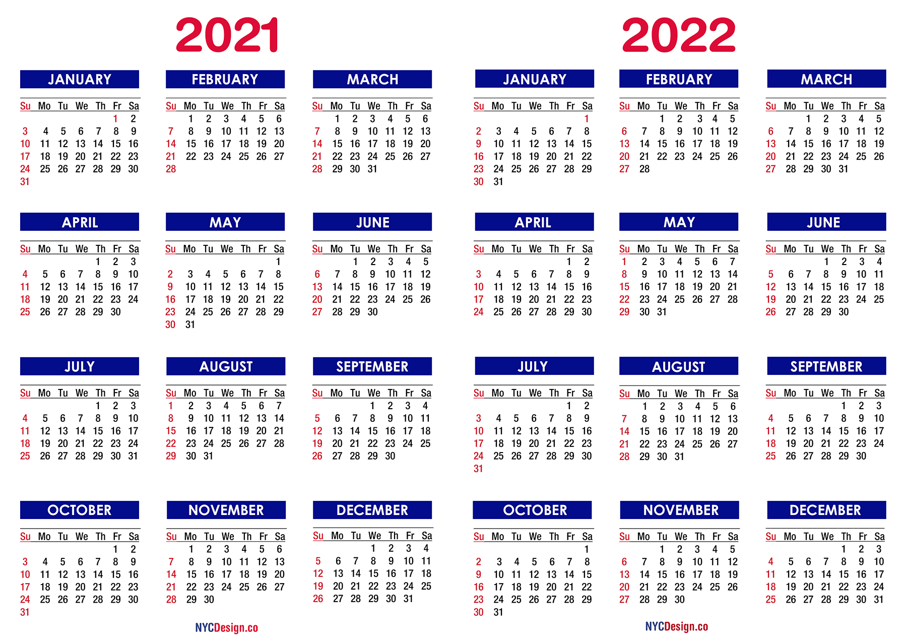 2021 - 2022 Two Year Calendar Printable Free, Blue ...