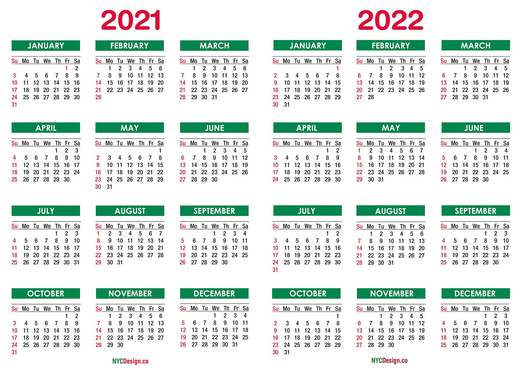 2021 - 2022 Two Year Calendar Printable Free, Green ...