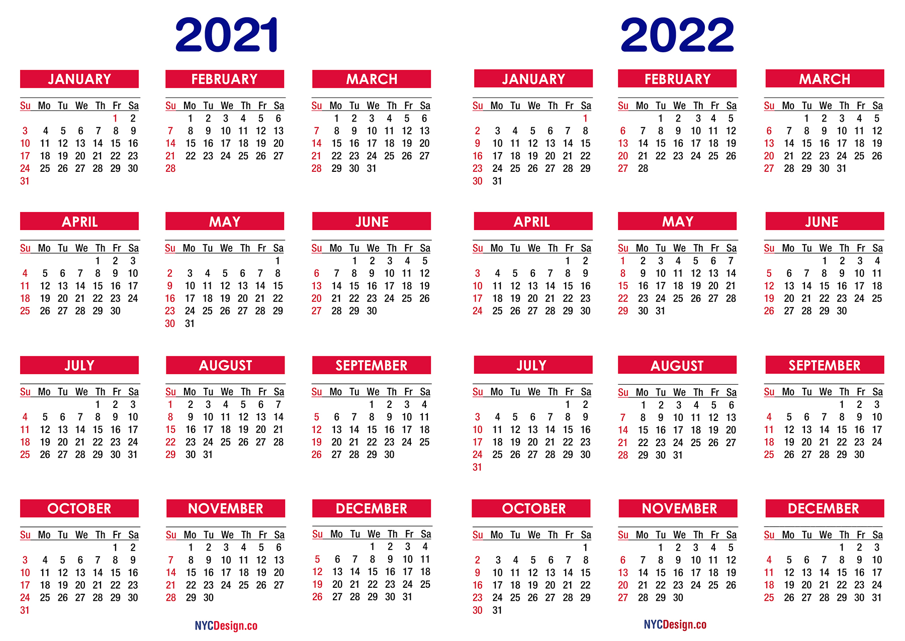 Calendar For 2021 And 2022 | Free Letter Templates
