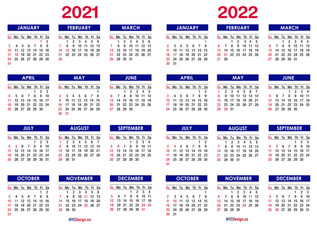 2021 2022 Calendar Nycdesign Co Calendars Printable Free