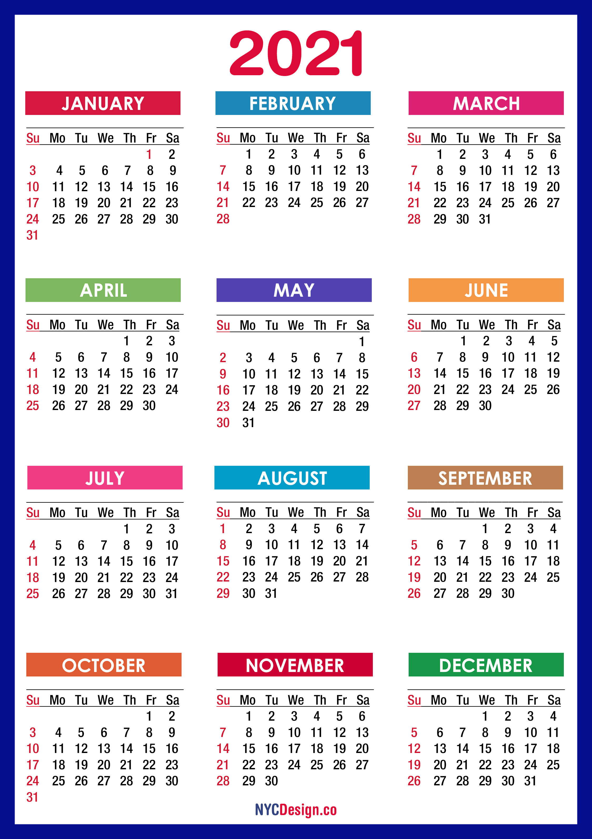 Download 2021 Calendar Pdf 2021 Calendar Printable Free, PDF, Colorful, Blue, Green – Sunday