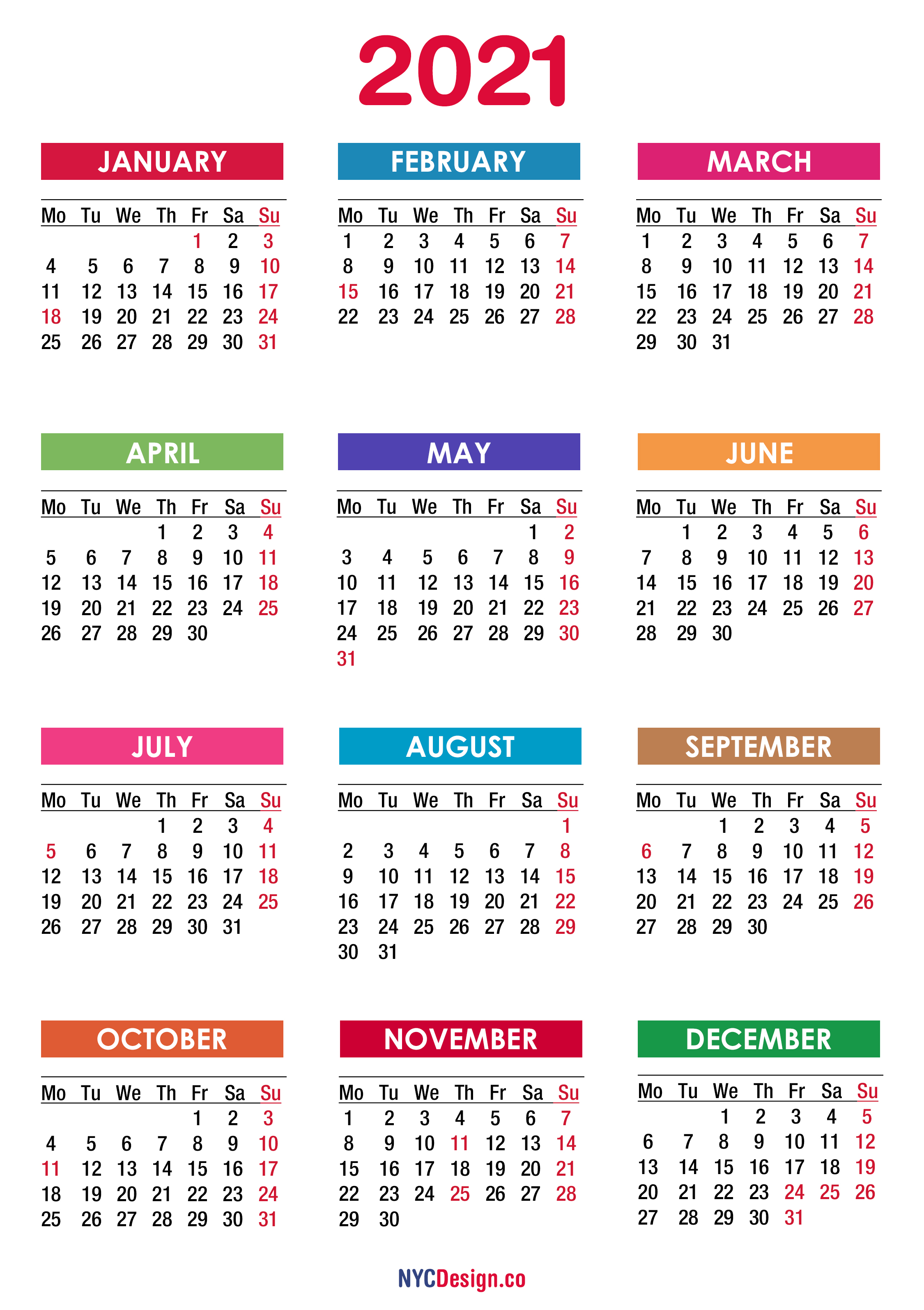 2021 Calendar with Holidays, Printable Free, PDF, Colorful ...
