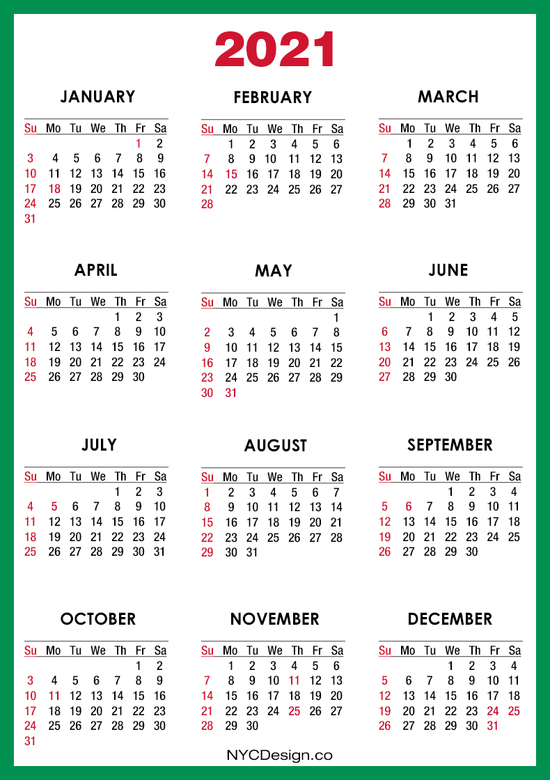 2021 Calendar with US Holidays, Printable Free, Green ...