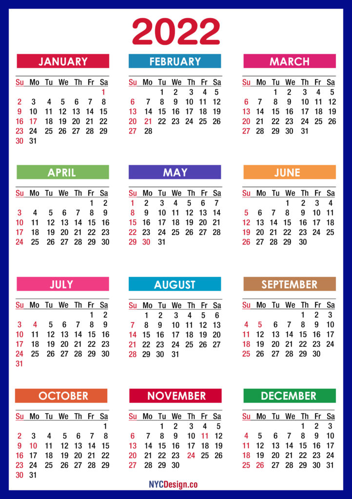 2022 Calendars - NYCDesign.co | Calendars Printable Free