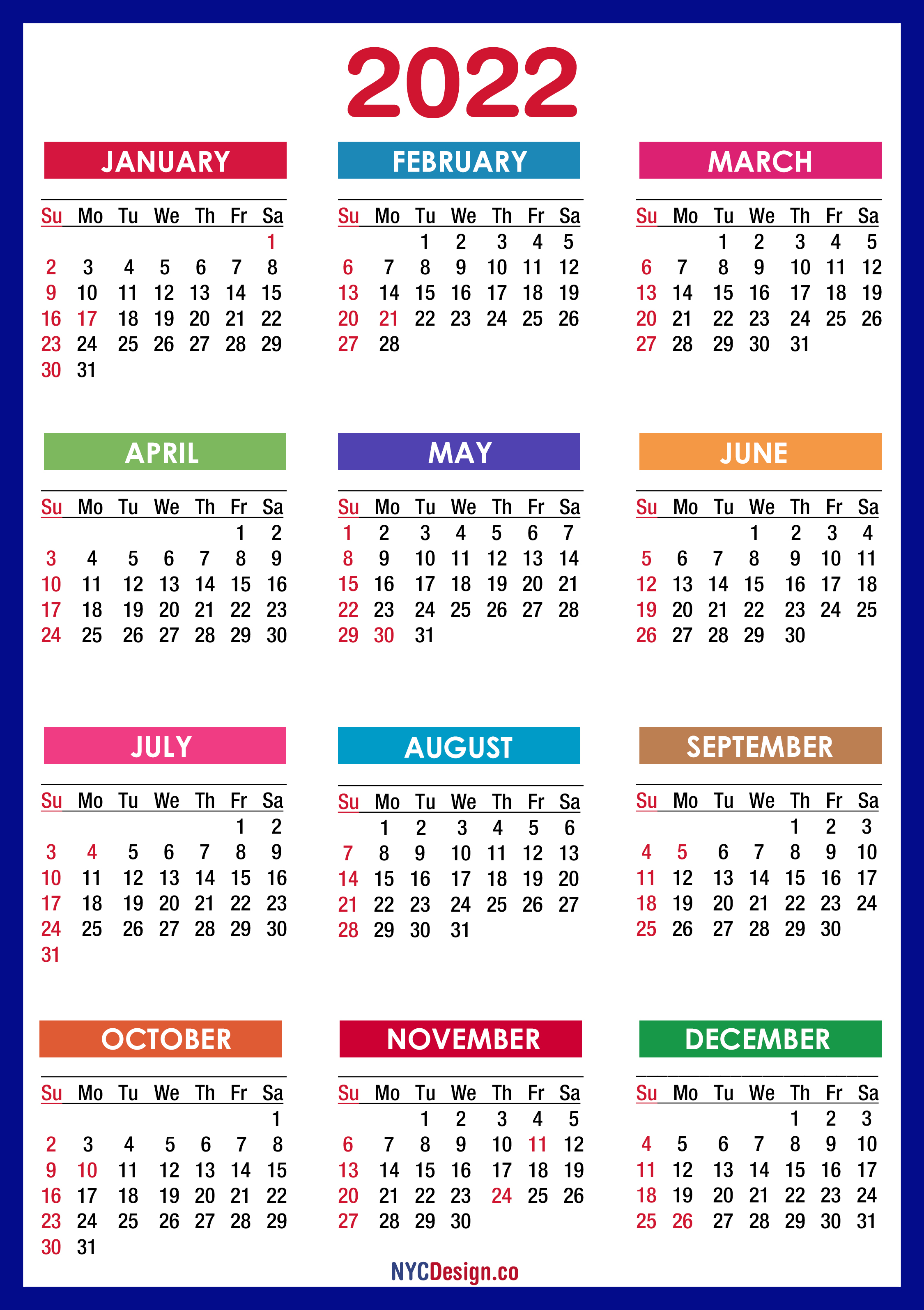 2022 One Page Calendar.2022 Calendar With Holidays Printable Free Pdf Colorful Blue Green Sunday Start Nycdesign Co Calendars Printable Free