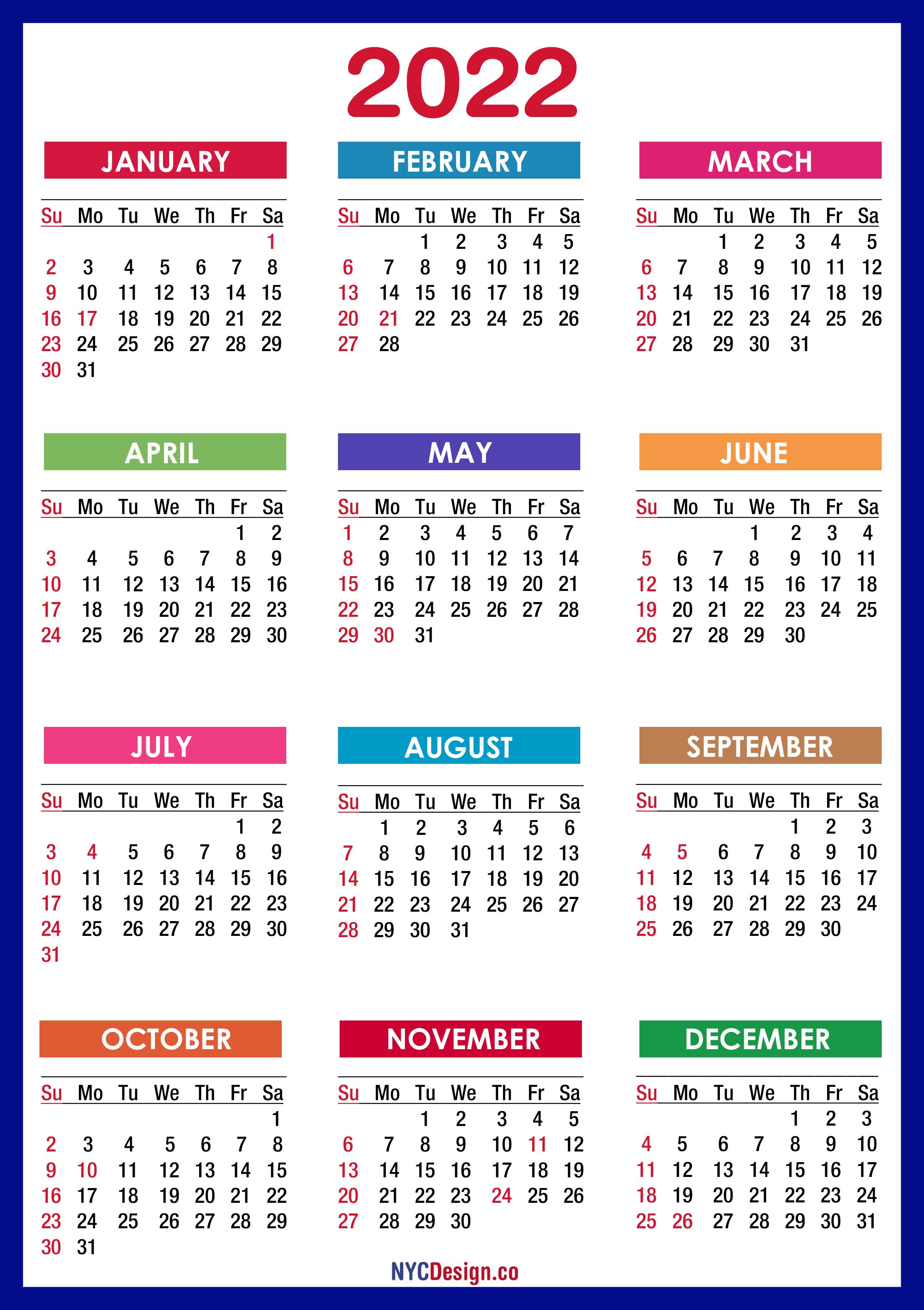 2022 Us Calendar.2022 Calendar With Holidays Printable Free Pdf Colorful Blue Green Sunday Start Nycdesign Co Calendars Printable Free