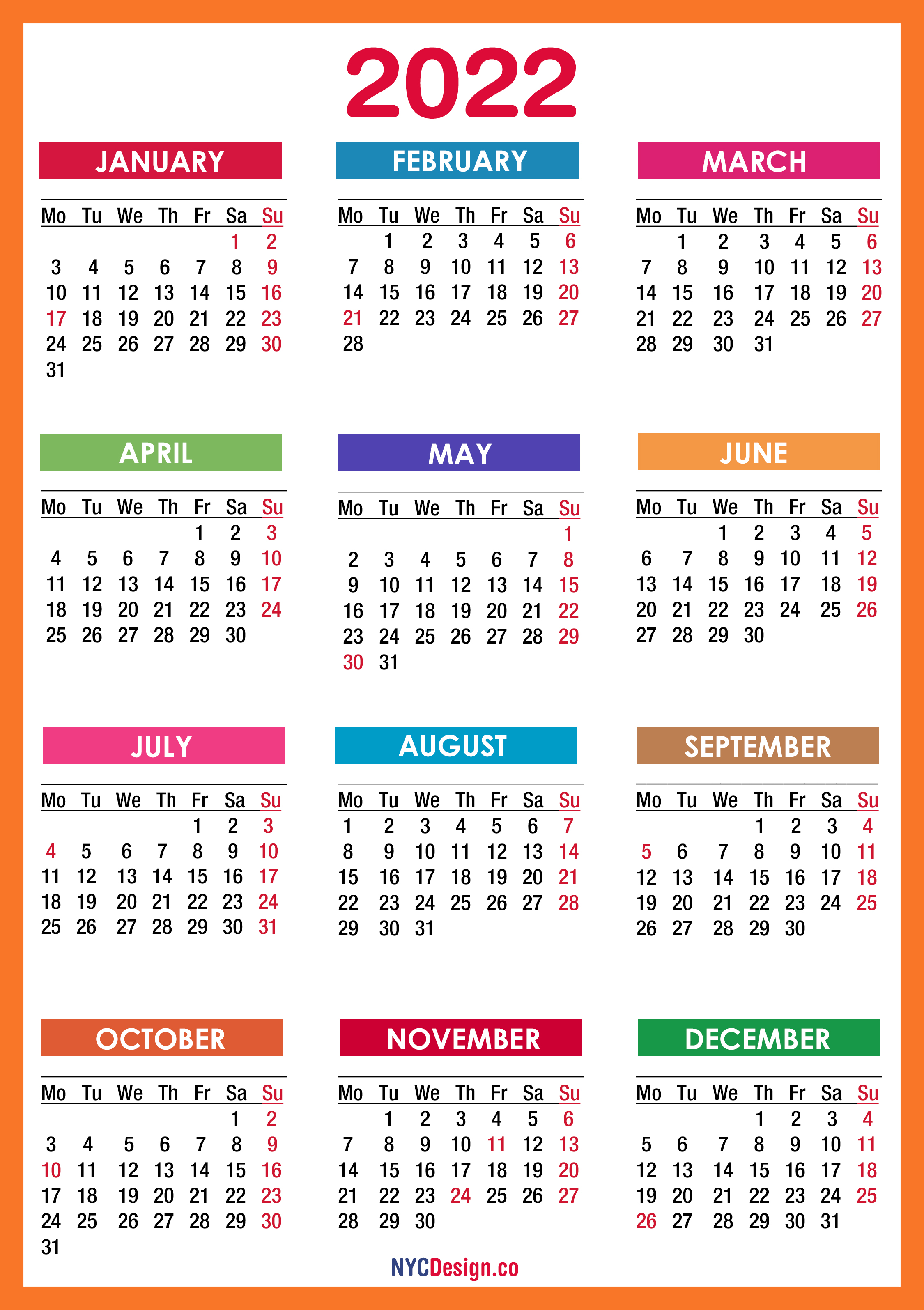 2022 Calendar Monday Start.2022 Calendar With Holidays Printable Free Pdf Colorful Red Orange Monday Start Nycdesign Co Calendars Printable Free