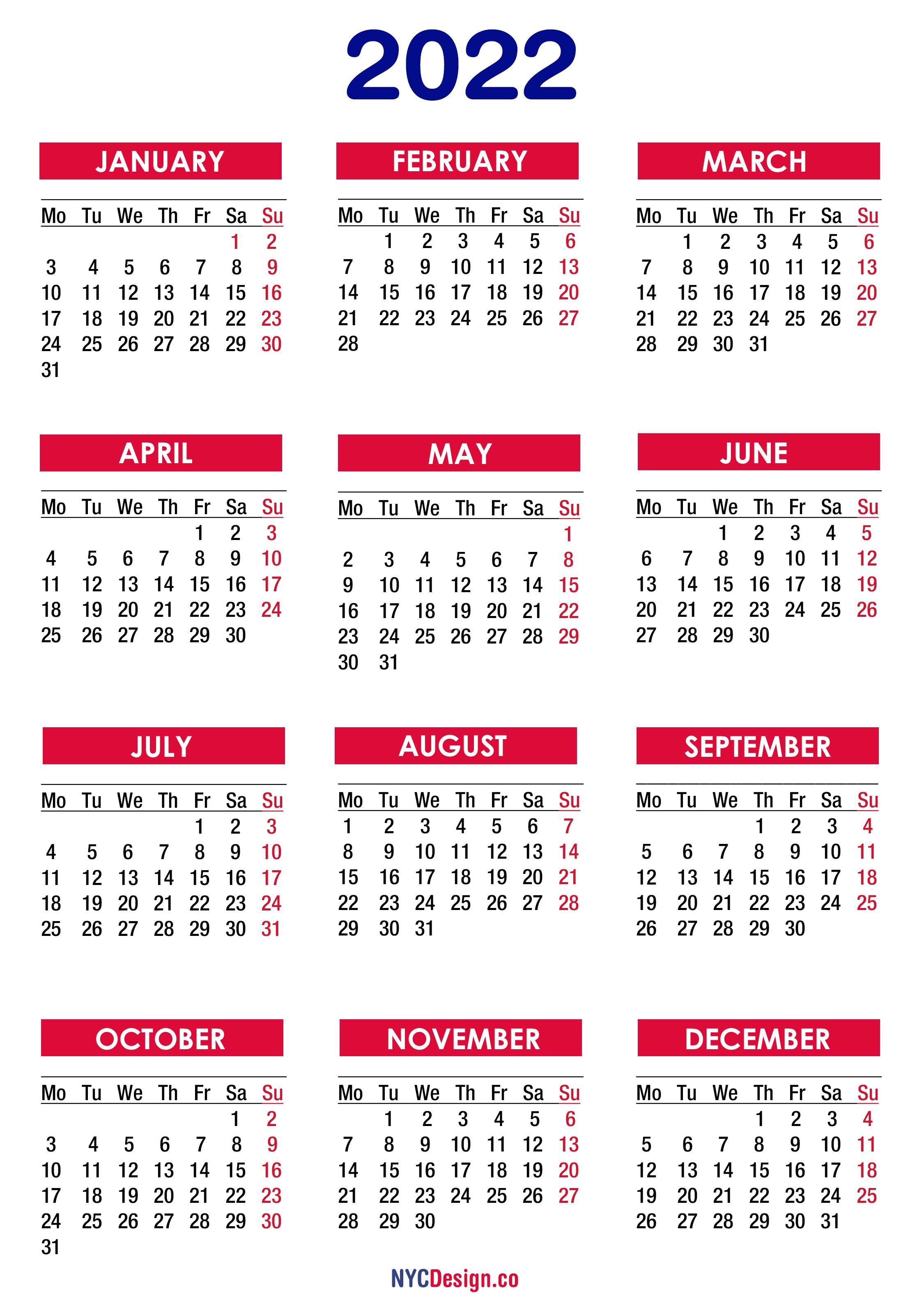 2022 Calendar Printable Free, PDF, Colorful - Monday Start ...