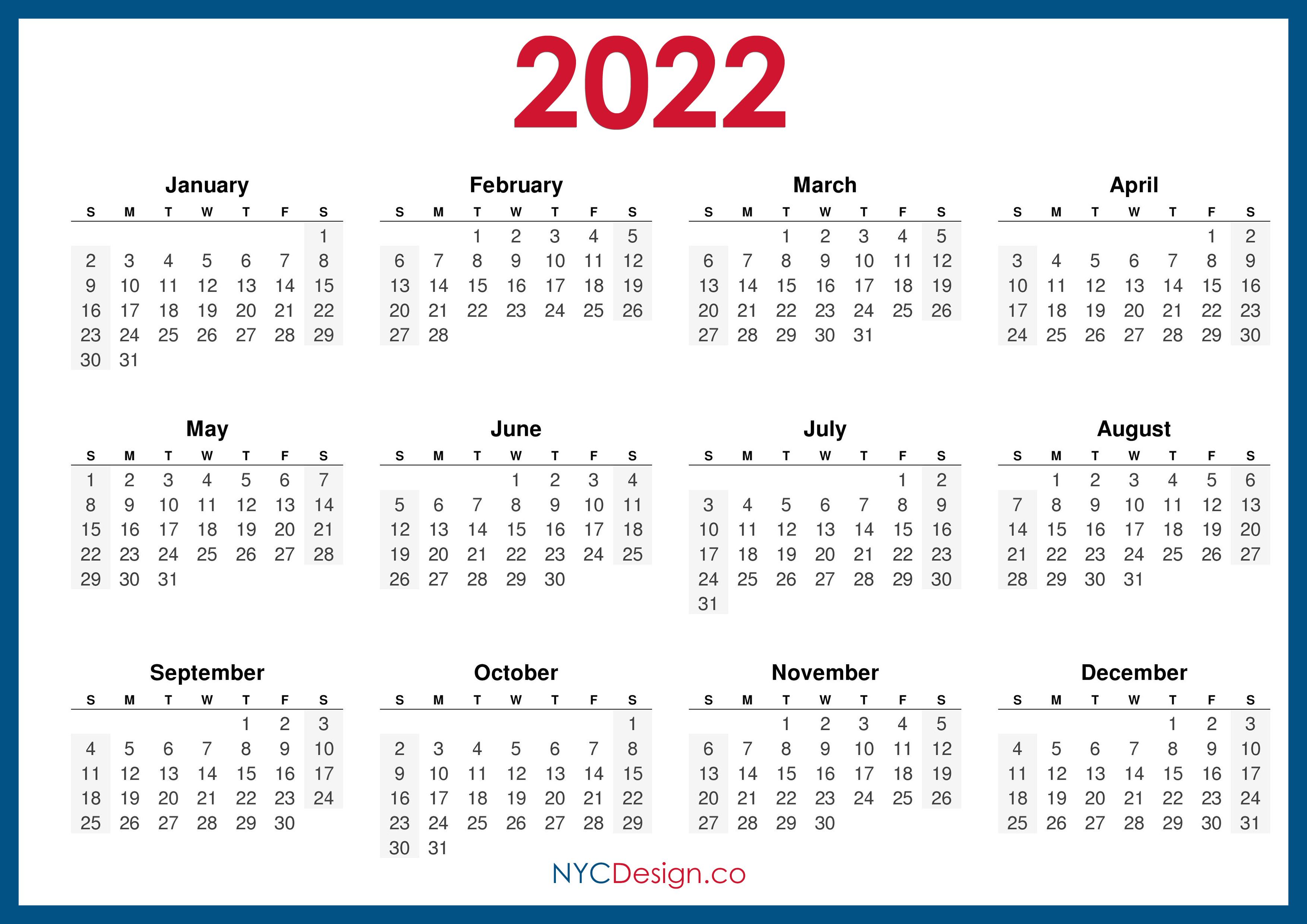 Full 2022 Calendar.2022 Calendar Printable Free Horizontal Blue Hd Sunday Start Nycdesign Co Calendars Printable Free