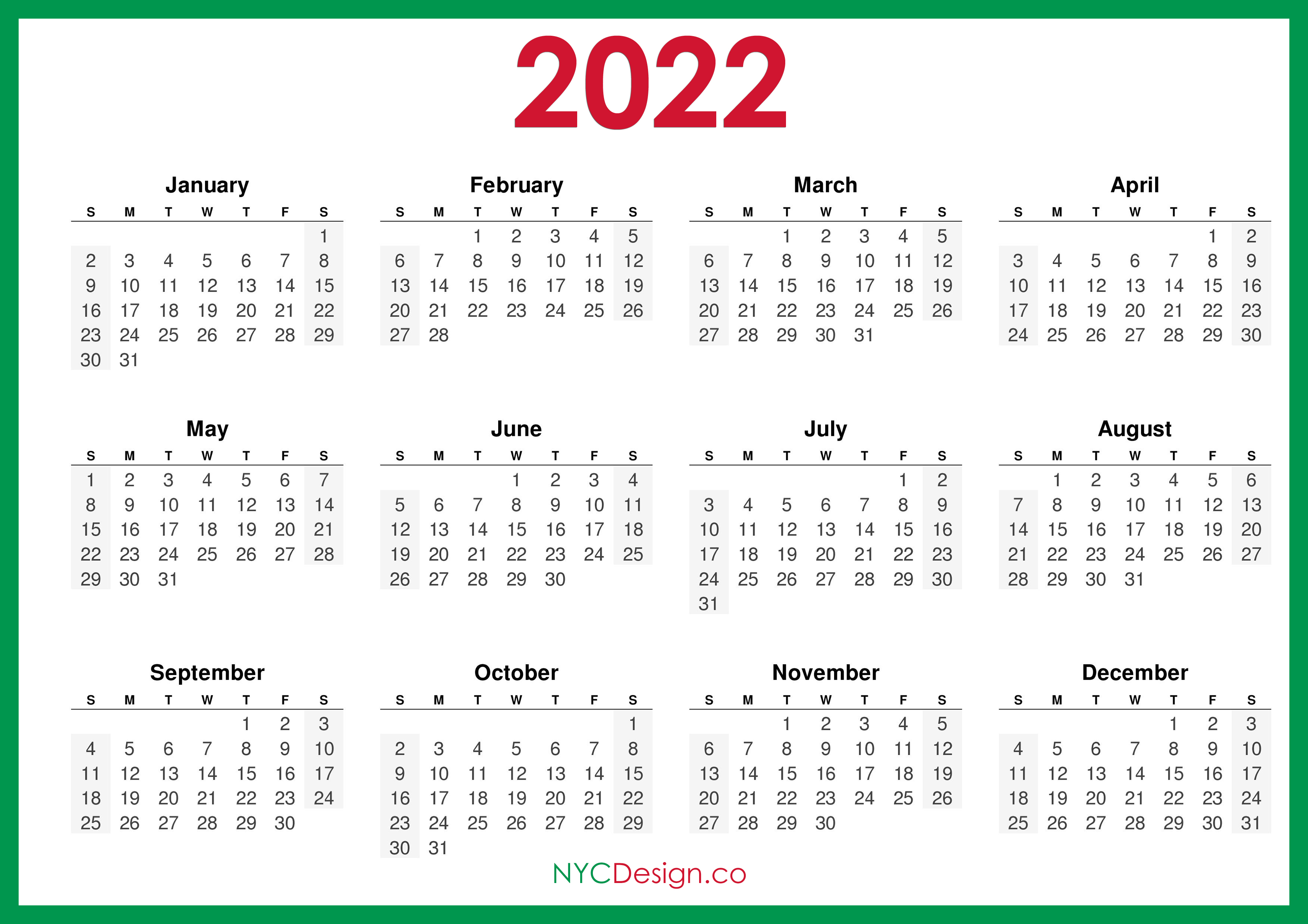 2022 Calendar Printable Free, Horizontal, Green, HD ...