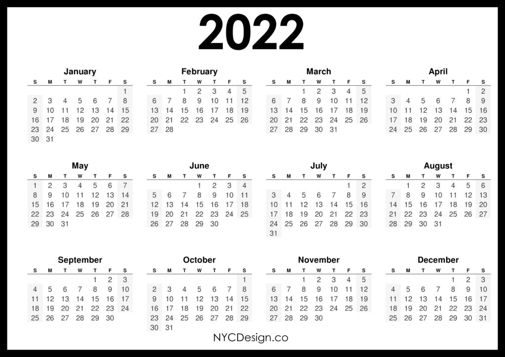2022 Calendar Printable Free, Horizontal, Black, HD ...