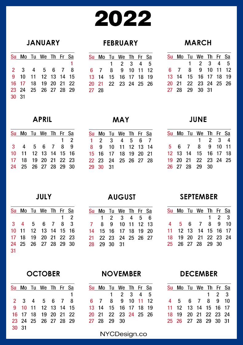 2022 Calendar with US Holidays, Printable Free, Blue ...