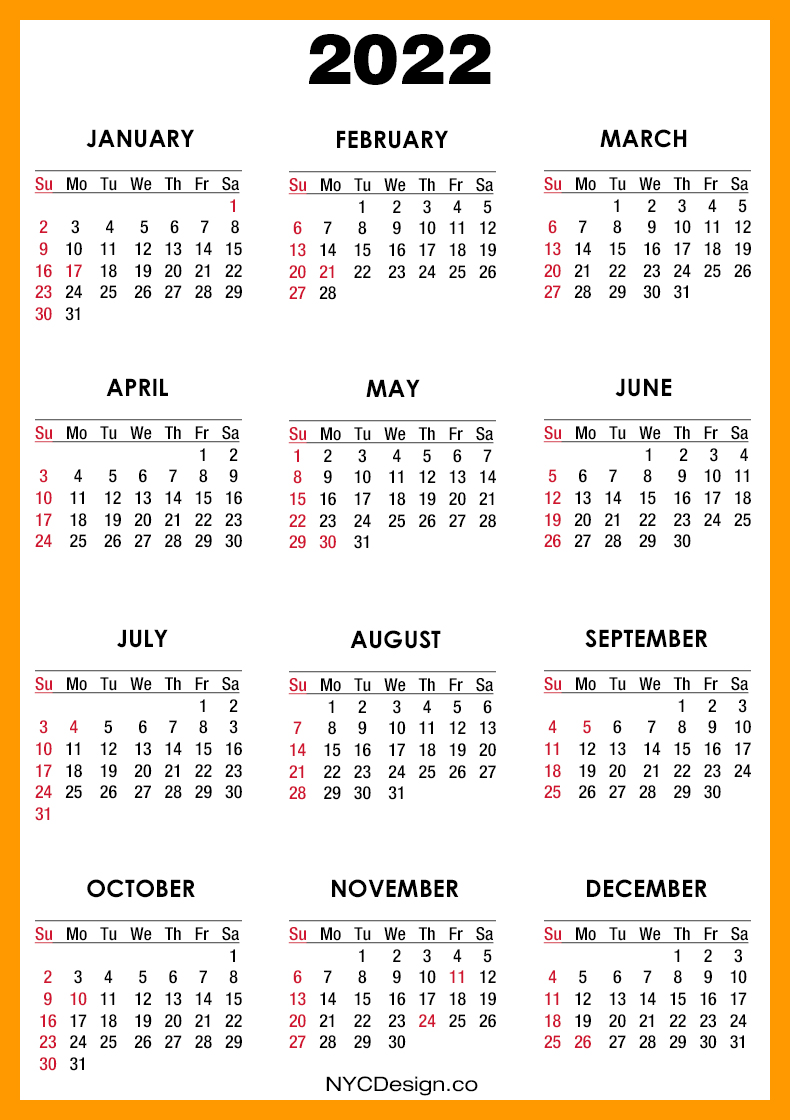 2022 Calendar with US Holidays, Printable Free, Orange ...