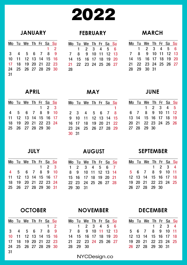2022 Calendar with US Holidays, Printable Free, Turquoise ...