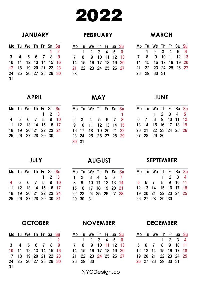 2022 Calendar with US Holidays, Printable Free, White ...