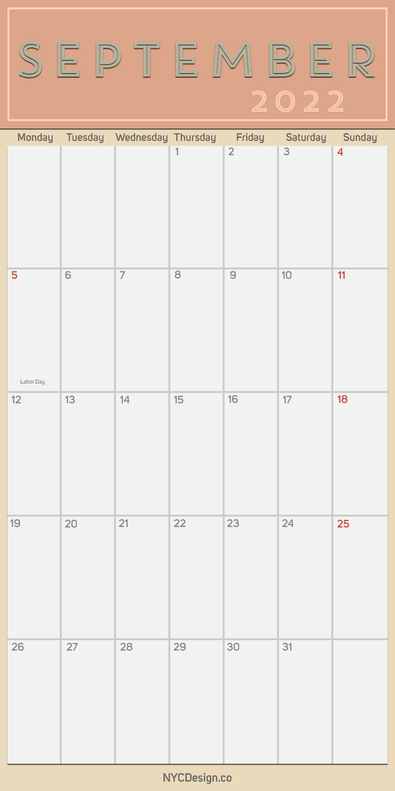 2022 September - Monthly Calendar, Planner, Printable Free ...